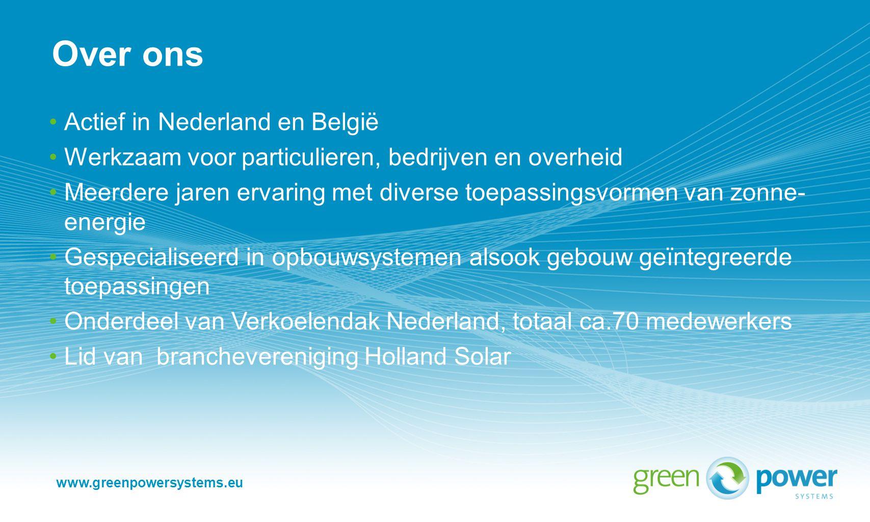 Over ons Actief in Nederland en België