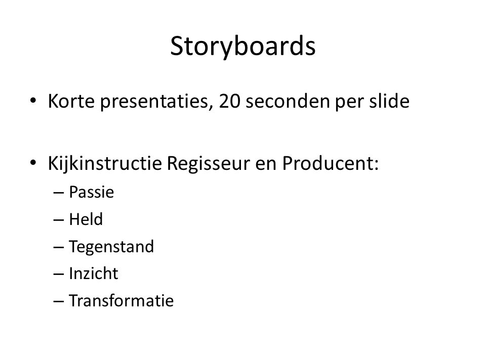 Storyboards Korte presentaties, 20 seconden per slide