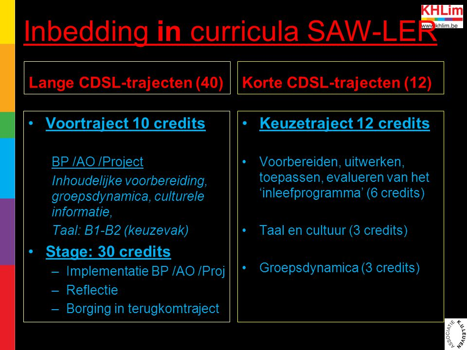 Inbedding in curricula SAW-LER