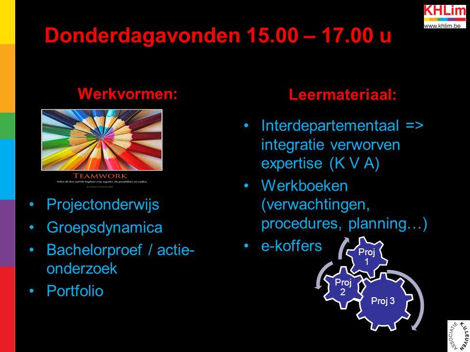 Donderdagavonden 15.00 – 17.00 u Werkvormen: Leermateriaal: