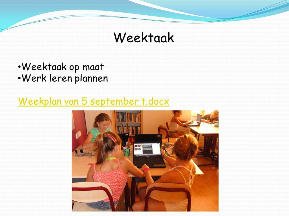 Weektaak Weektaak op maat Werk leren plannen