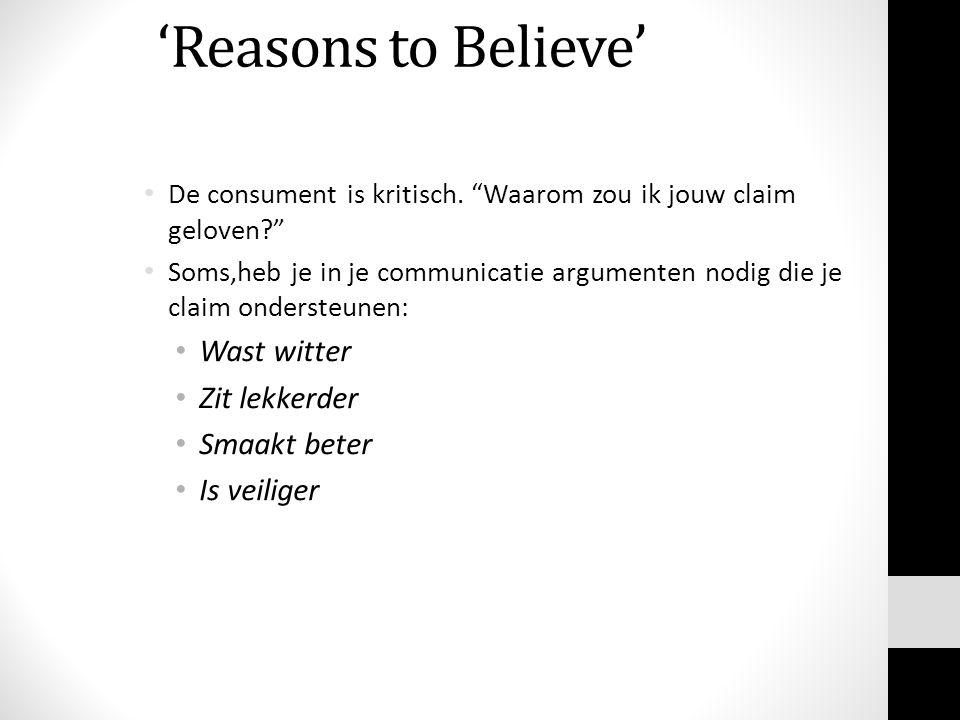 'Reasons to Believe' Wast witter Zit lekkerder Smaakt beter
