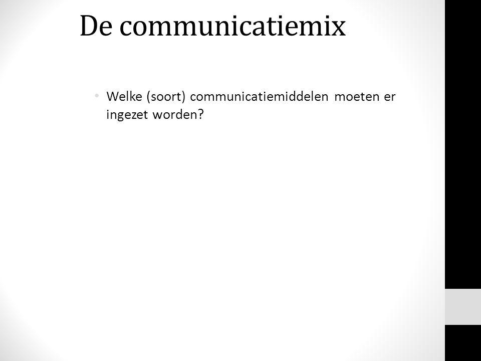 De communicatiemix Welke (soort) communicatiemiddelen moeten er ingezet worden