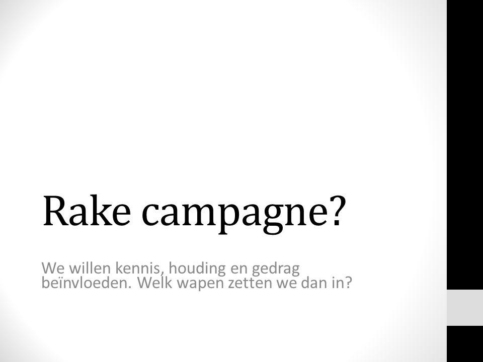 Rake campagne We willen kennis, houding en gedrag beïnvloeden. Welk wapen zetten we dan in