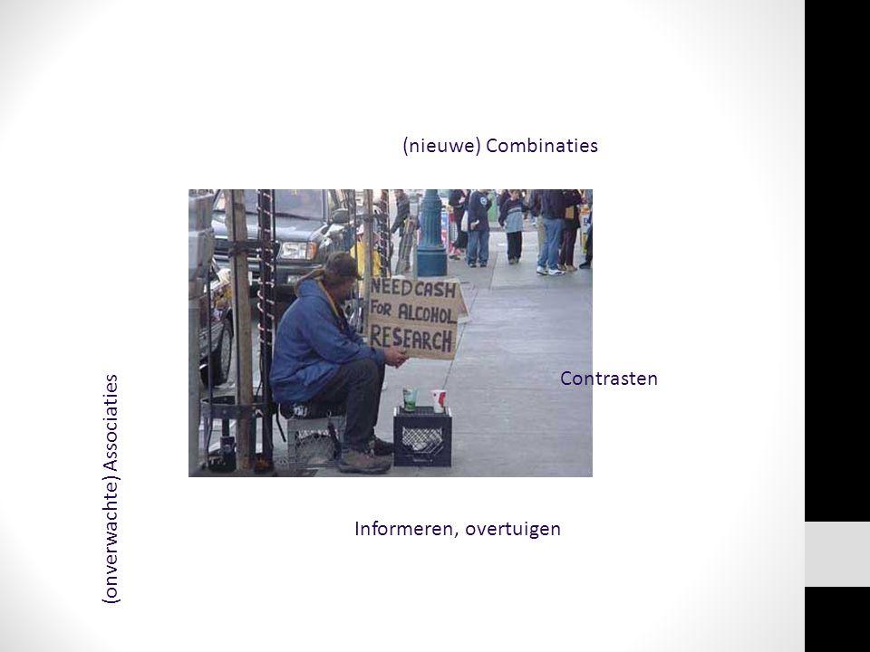 (nieuwe) Combinaties (onverwachte) Associaties Contrasten Informeren, overtuigen
