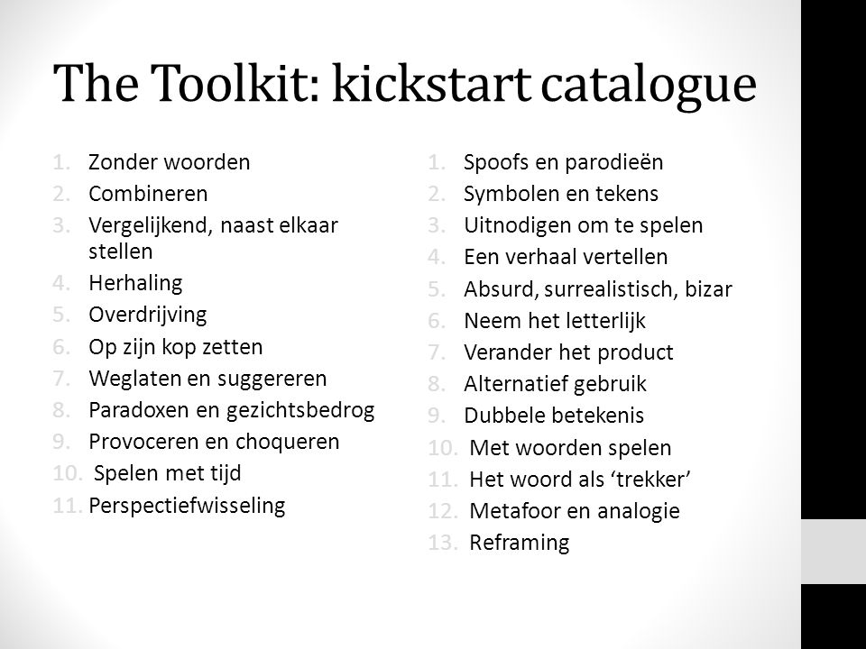 The Toolkit: kickstart catalogue