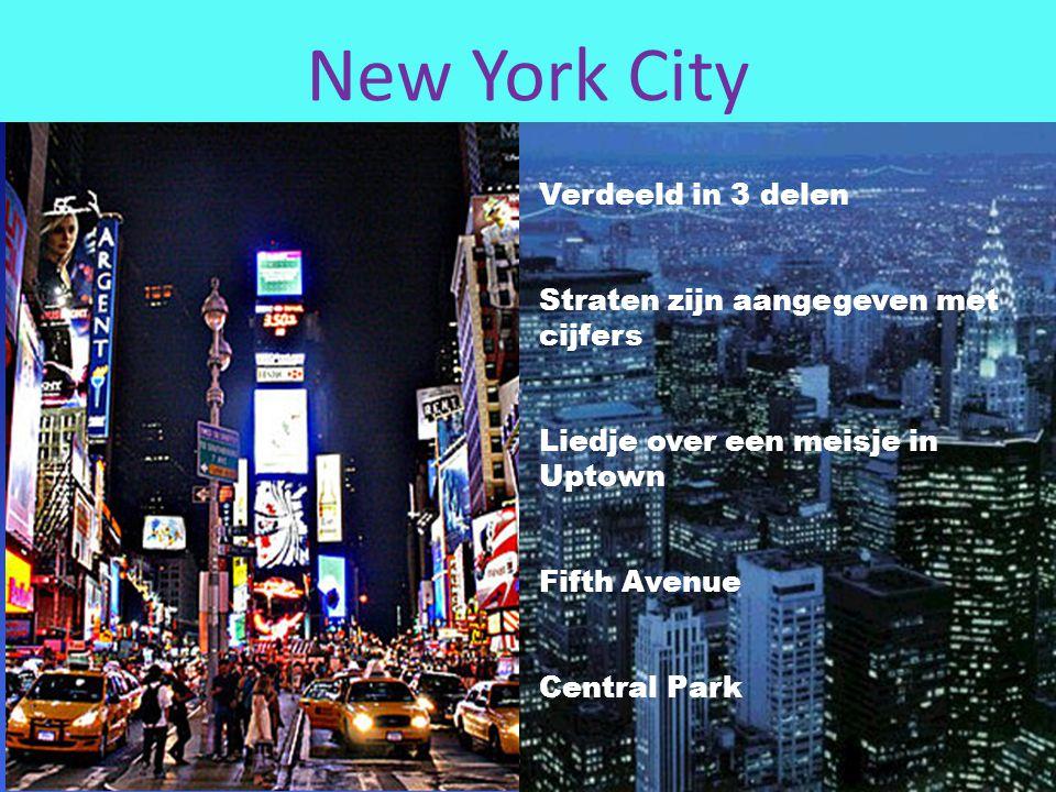 New York City Verdeeld in 3 delen Straten zijn aangegeven met cijfers