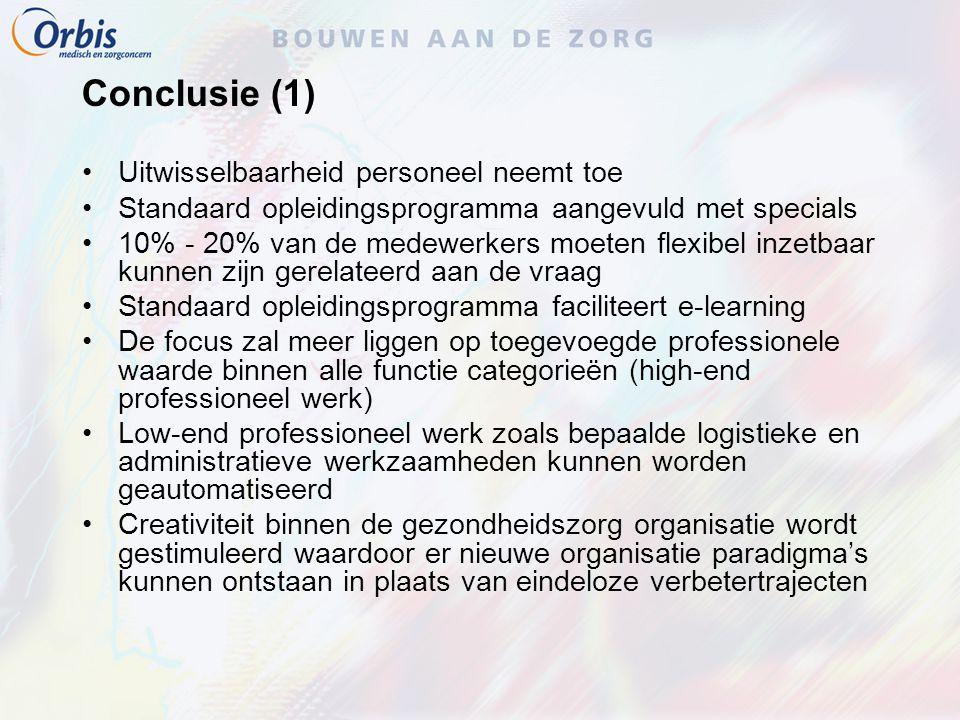 Conclusie (1) Uitwisselbaarheid personeel neemt toe