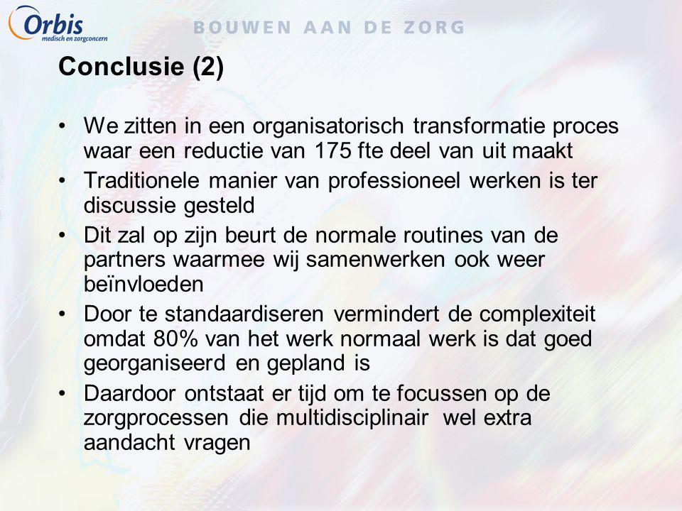Conclusie (2) We zitten in een organisatorisch transformatie proces waar een reductie van 175 fte deel van uit maakt.