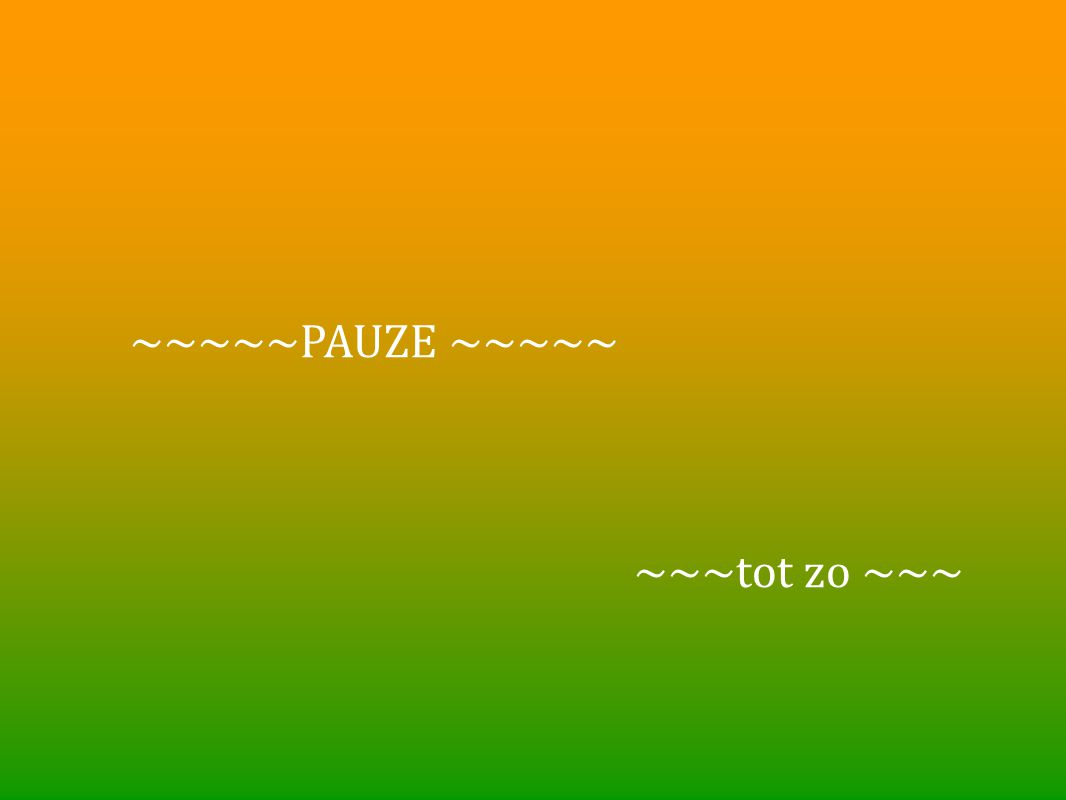 ~~~~~PAUZE ~~~~~ ~~~tot zo ~~~