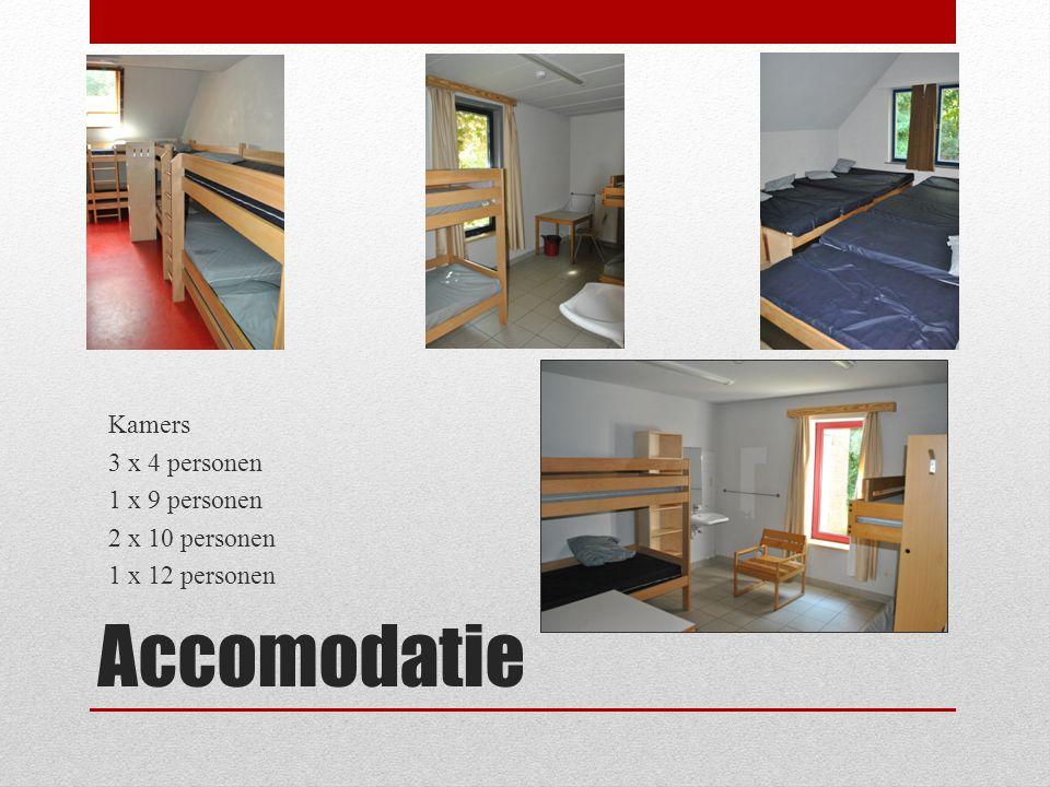 Accomodatie Kamers 3 x 4 personen 1 x 9 personen 2 x 10 personen