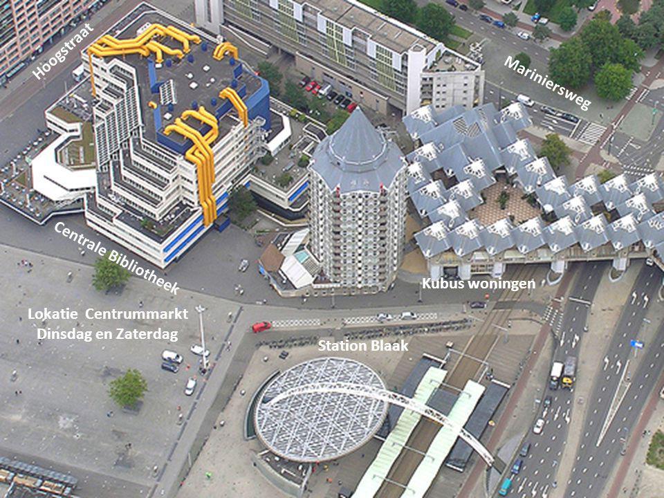 Hoogstraat Mariniersweg. Centrale Bibliotheek. Kubus woningen. Lokatie Centrummarkt. Dinsdag en Zaterdag.