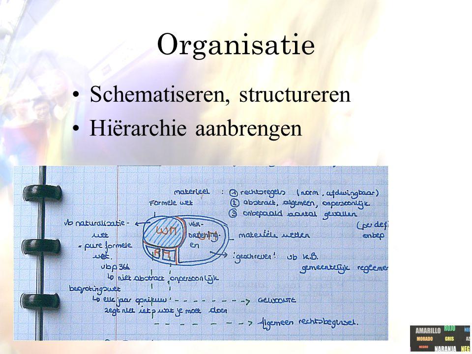 Organisatie Schematiseren, structureren Hiërarchie aanbrengen