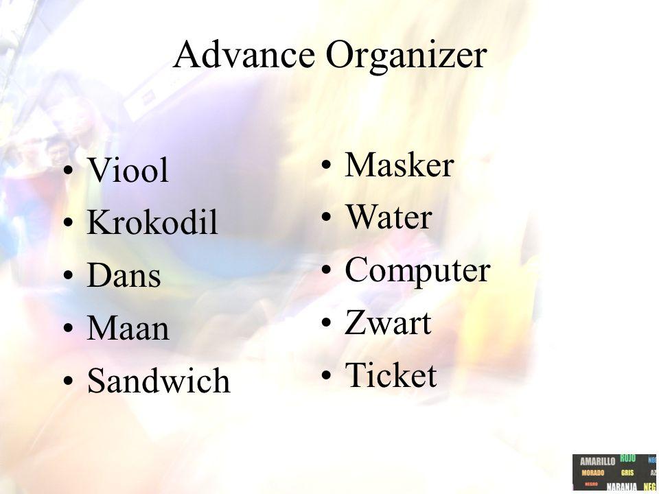 Advance Organizer Masker Viool Water Krokodil Computer Dans Zwart Maan