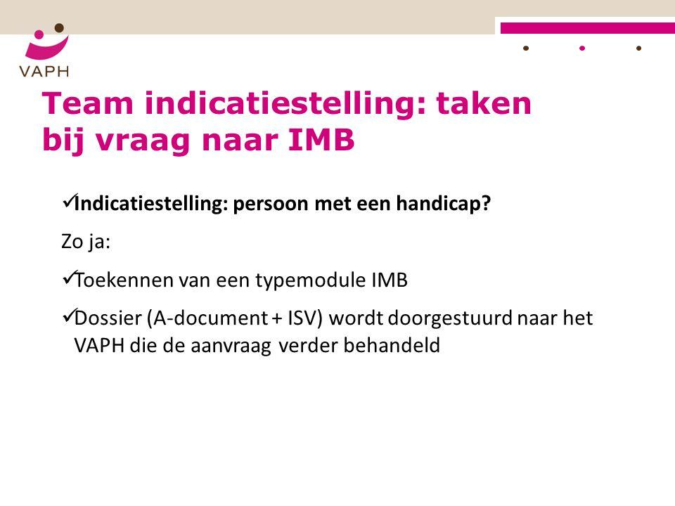 Team indicatiestelling: taken bij vraag naar IMB