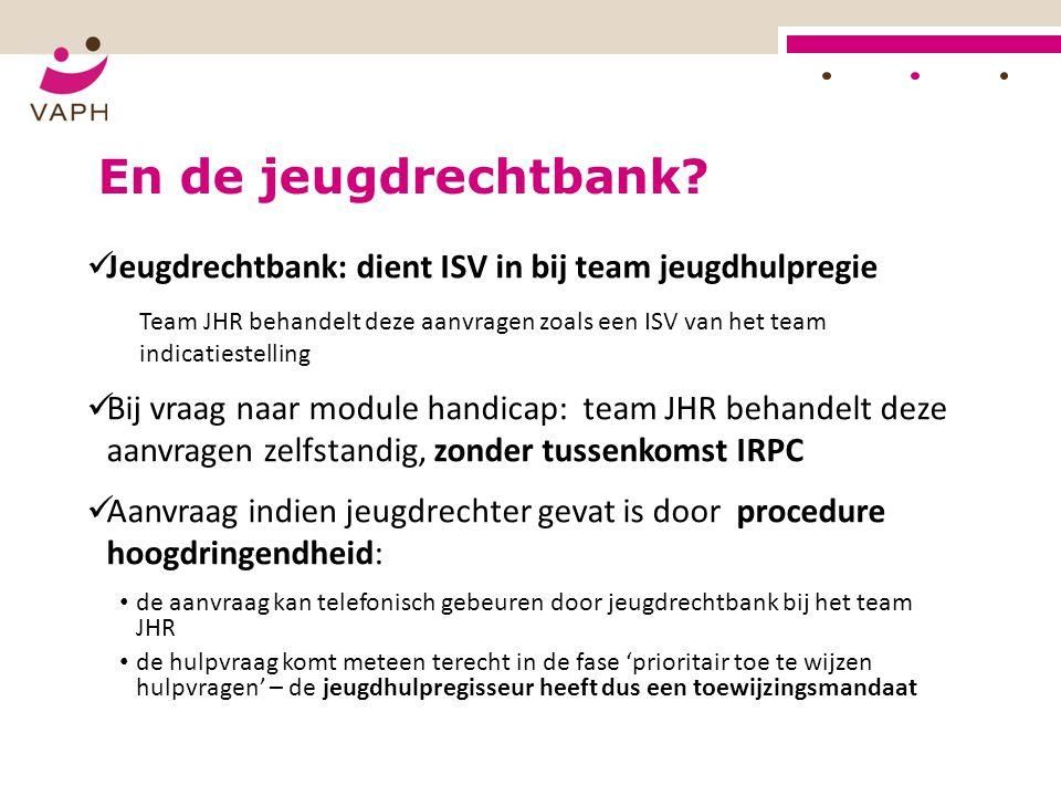 En de jeugdrechtbank Jeugdrechtbank: dient ISV in bij team jeugdhulpregie.