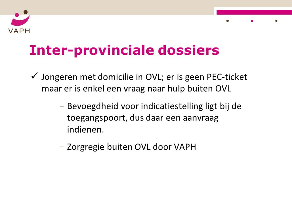 Inter-provinciale dossiers