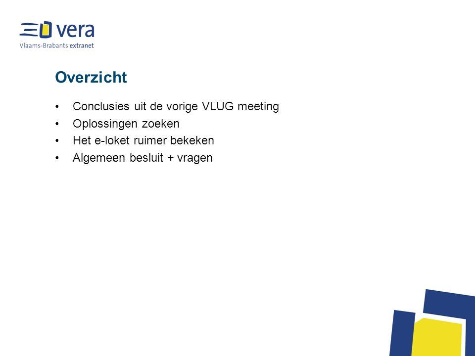 Overzicht Conclusies uit de vorige VLUG meeting Oplossingen zoeken