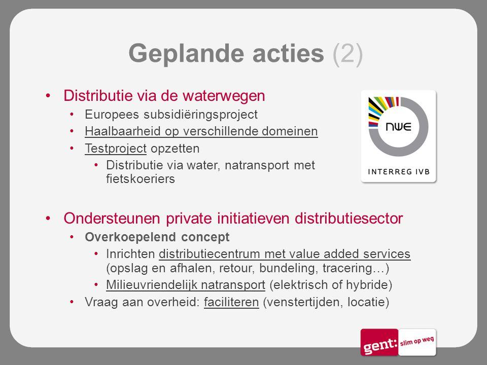 Geplande acties (2) Distributie via de waterwegen