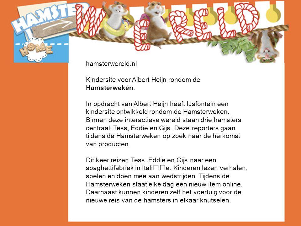 hamsterwereld.nl Kindersite voor Albert Heijn rondom de Hamsterweken.