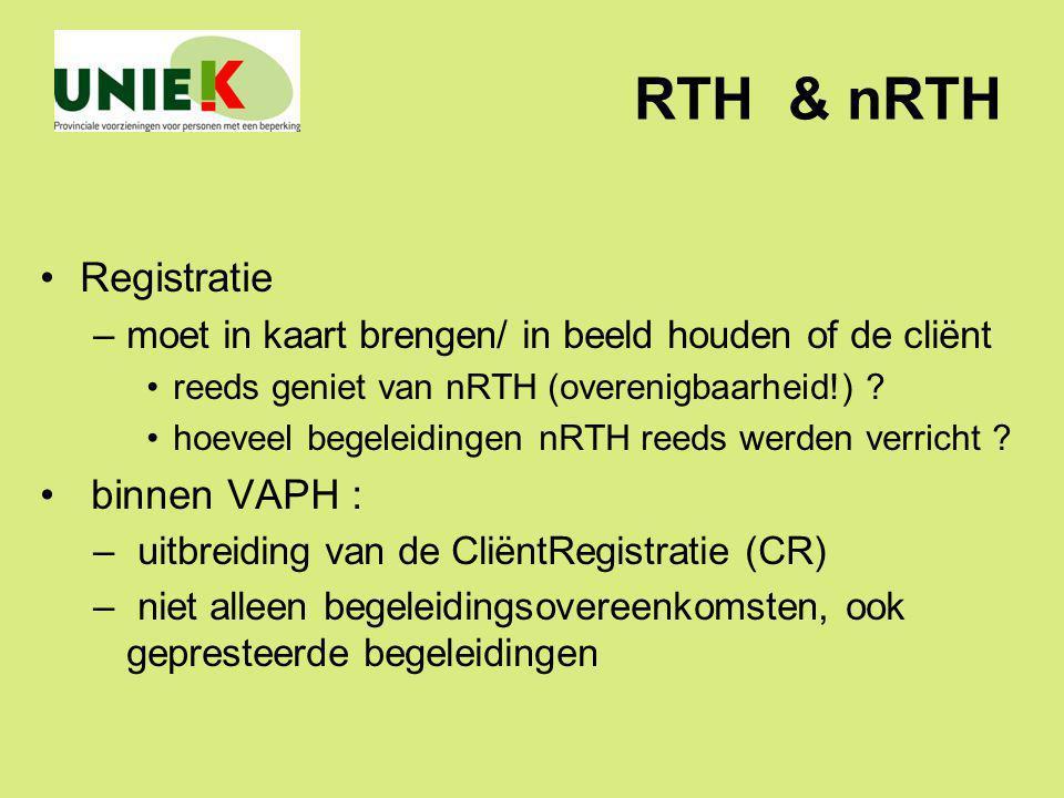 RTH & nRTH Registratie binnen VAPH :
