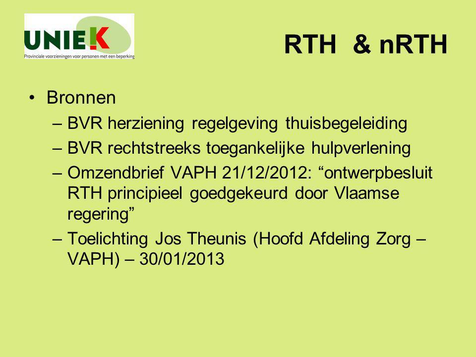 RTH & nRTH Bronnen BVR herziening regelgeving thuisbegeleiding