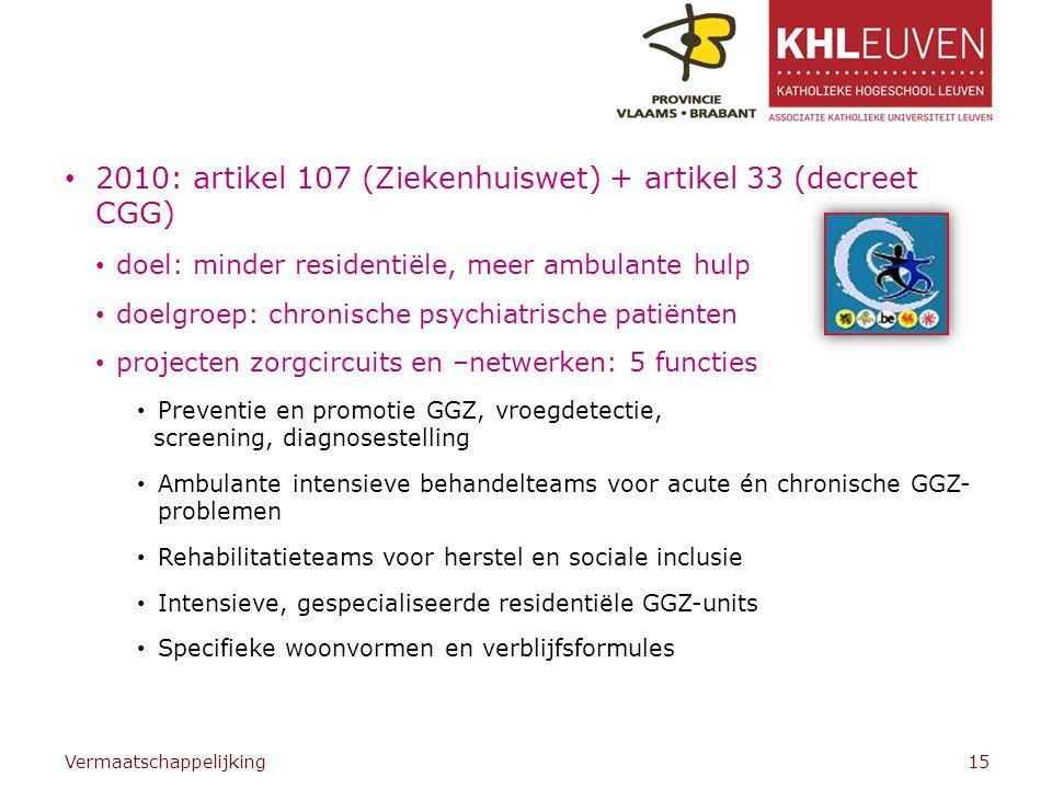 2010: artikel 107 (Ziekenhuiswet) + artikel 33 (decreet CGG)