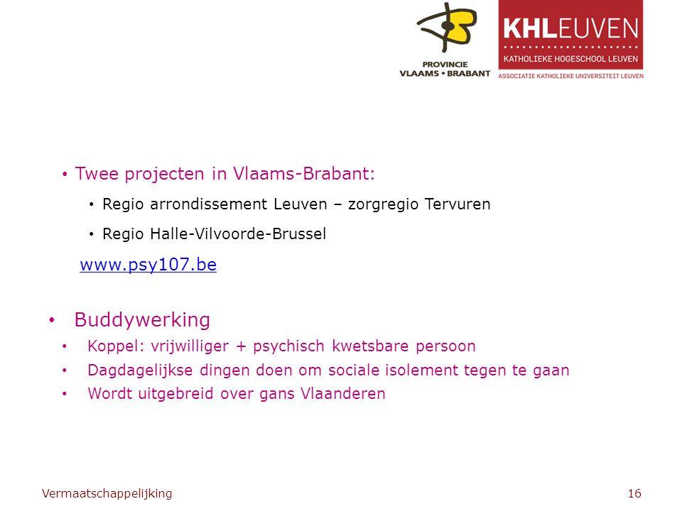 Buddywerking Twee projecten in Vlaams-Brabant: www.psy107.be