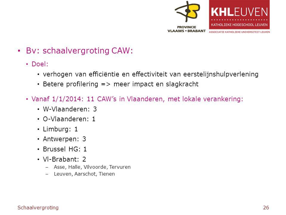 Bv: schaalvergroting CAW: