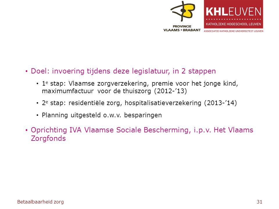 Doel: invoering tijdens deze legislatuur, in 2 stappen