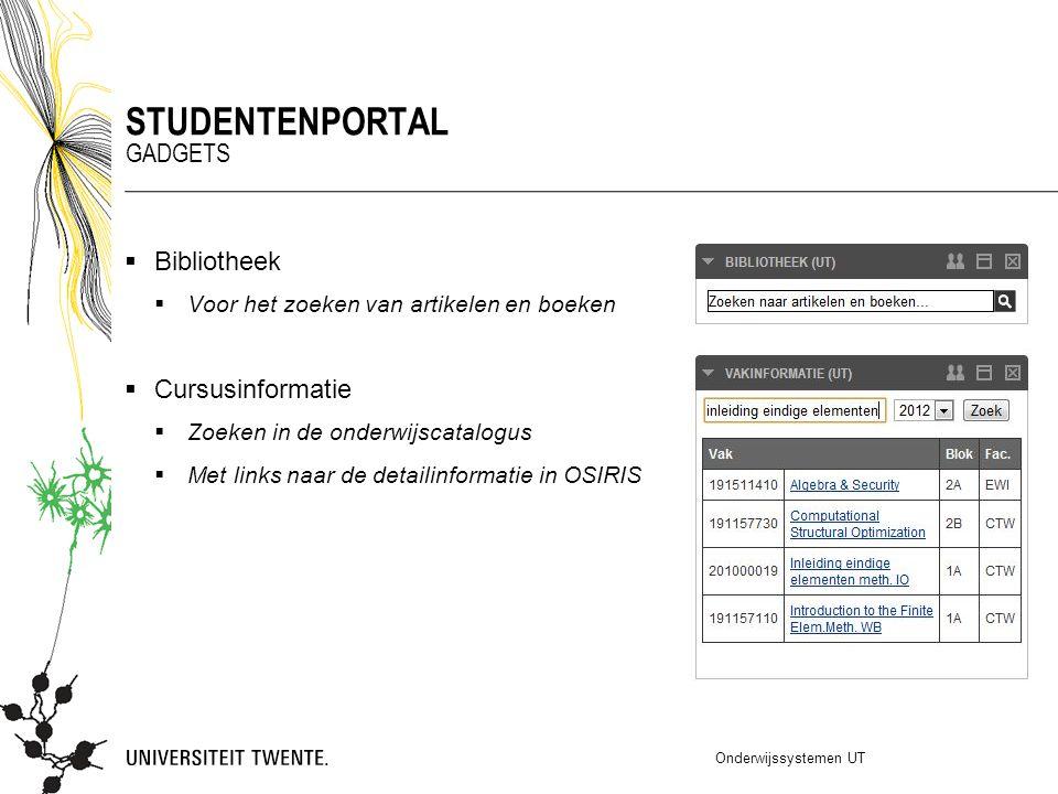 Studentenportal Gadgets Bibliotheek Cursusinformatie