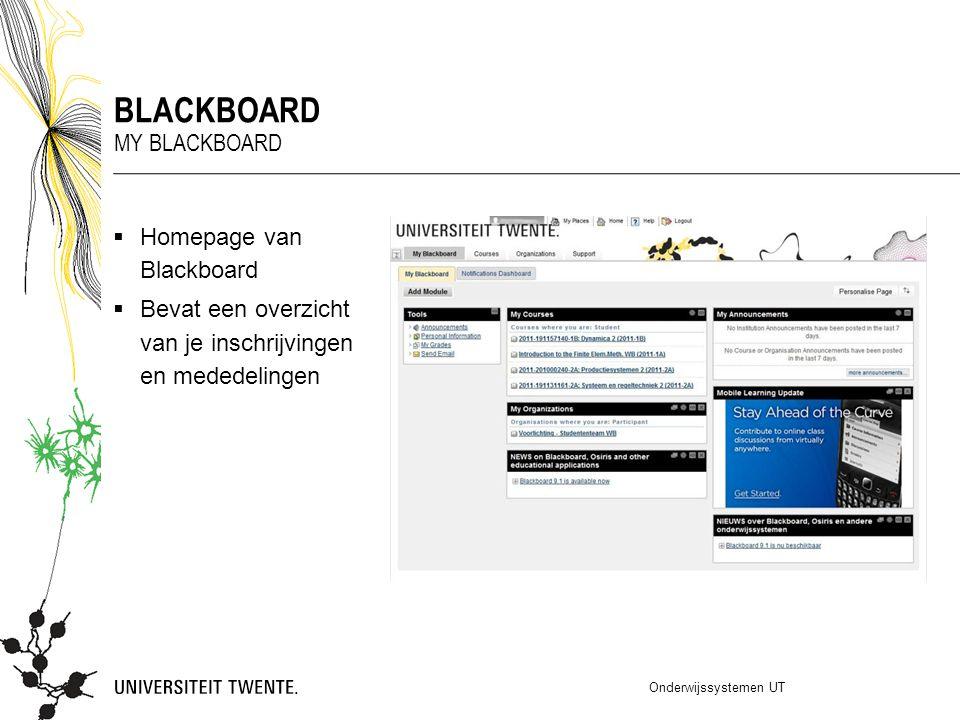 blackboard My blackboard Homepage van Blackboard
