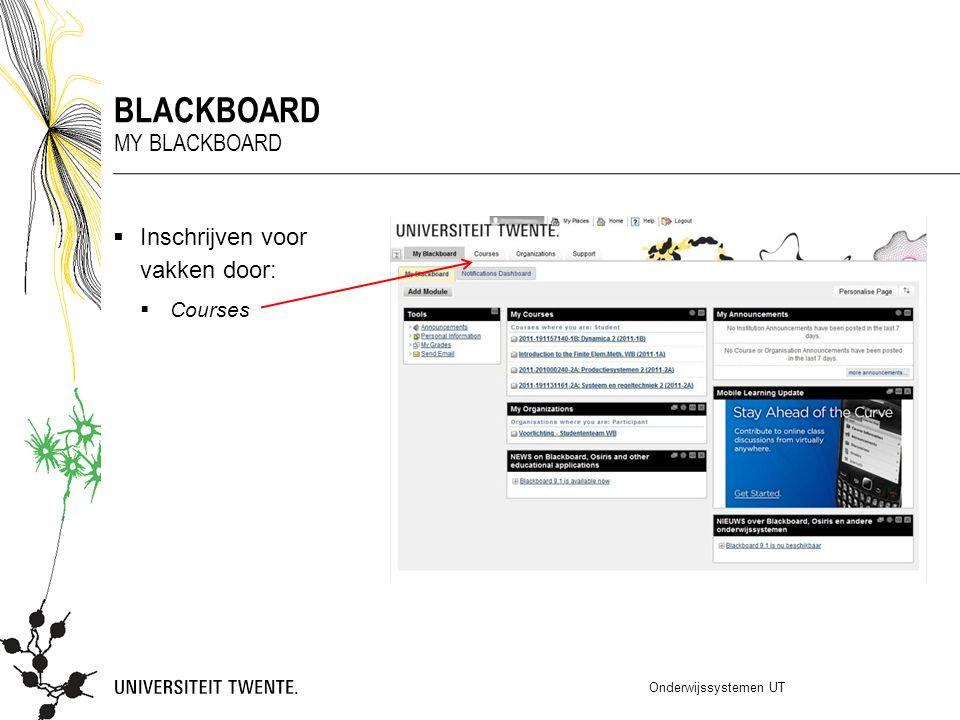 blackboard My blackboard Inschrijven voor vakken door: Courses