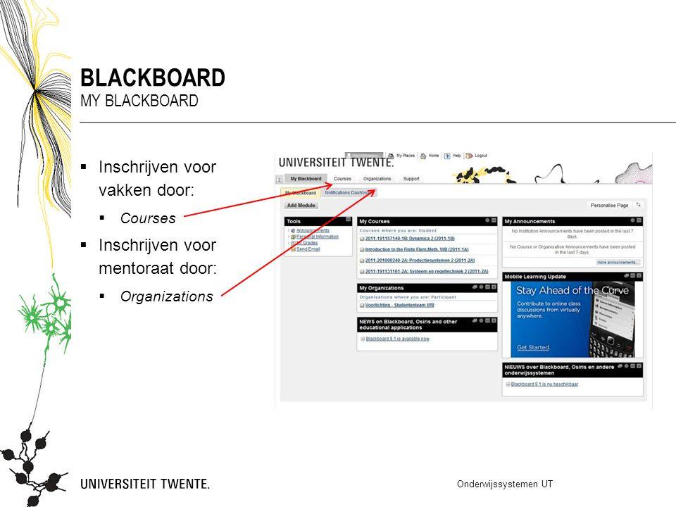 blackboard My blackboard Inschrijven voor vakken door: