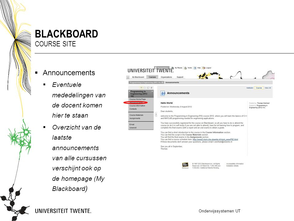 Blackboard Course Site Announcements