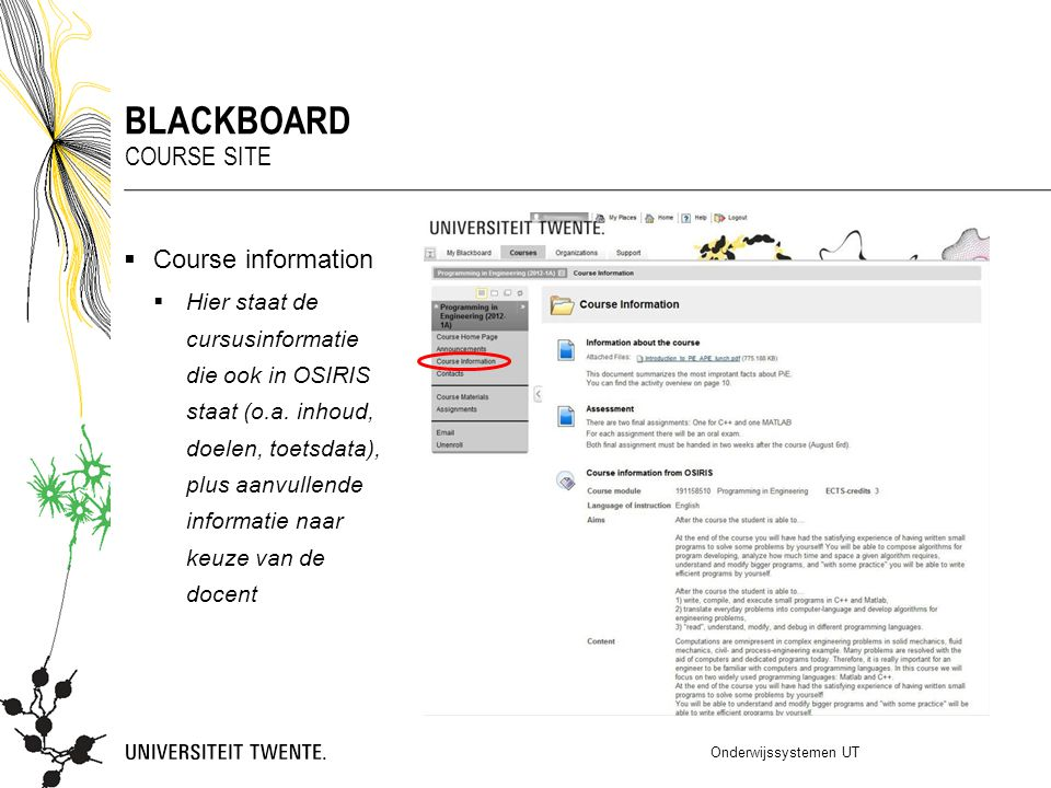 Blackboard Course site Course information
