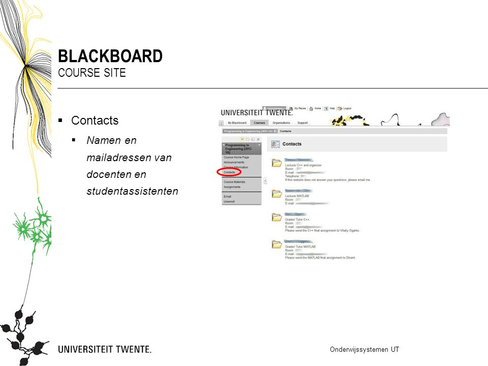 blackboard Course site Contacts