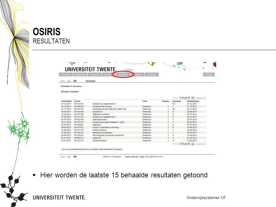 OSIRIS Resultaten Hier worden de laatste 15 behaalde resultaten getoond Onderwijssystemen UT