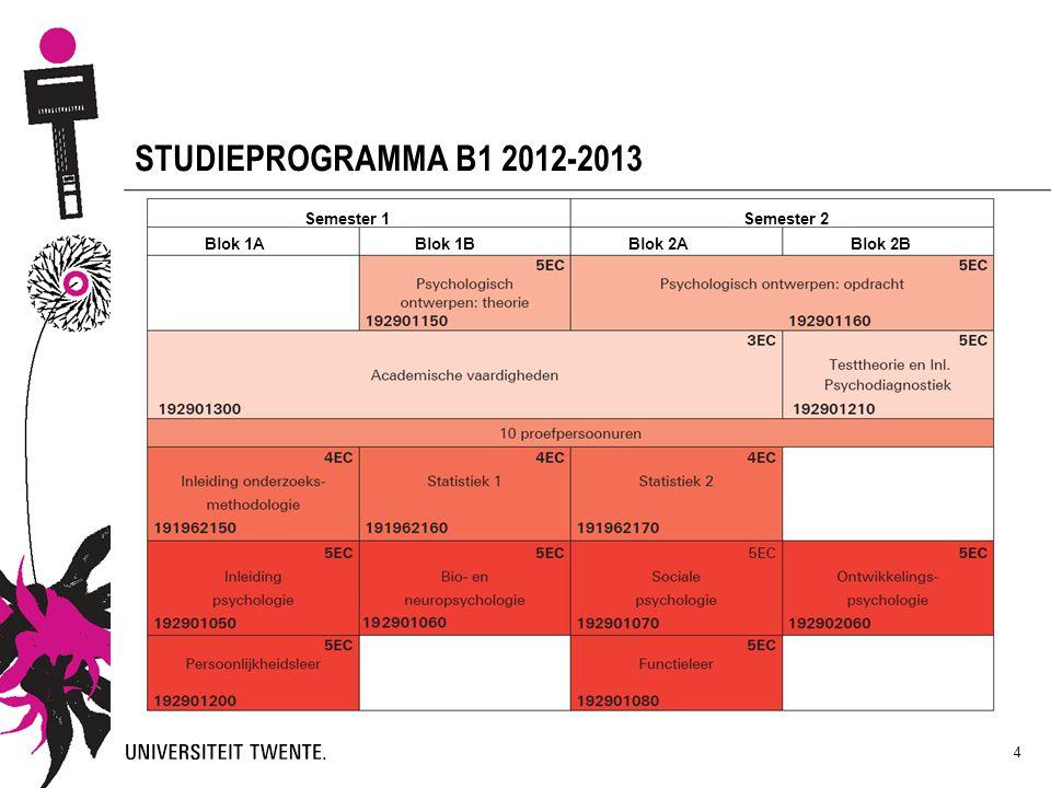 STUDIEPROGRAMMA B1 2012-2013 Semesters en kwartielen uitleggen.