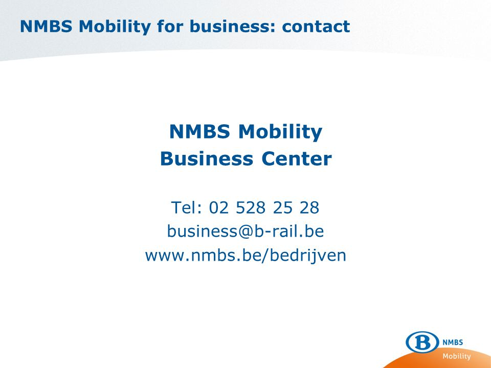 NMBS Mobility for business: contact