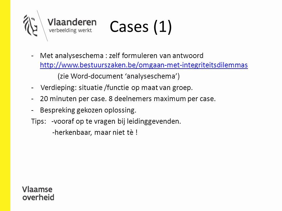 Cases (1) Met analyseschema : zelf formuleren van antwoord http://www.bestuurszaken.be/omgaan-met-integriteitsdilemmas.