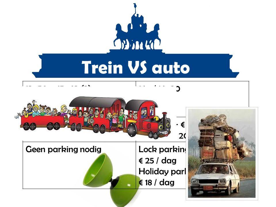 Trein VS auto 13u50 – 15u42 (2) 14u15 – 15u47 (1) 14u18 – 16u14 (2)