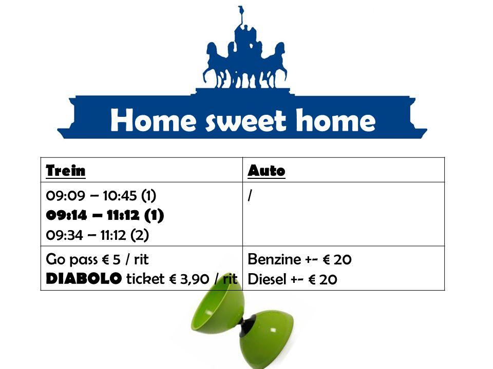 Home sweet home Trein Auto 09:09 – 10:45 (1) 09:14 – 11:12 (1)