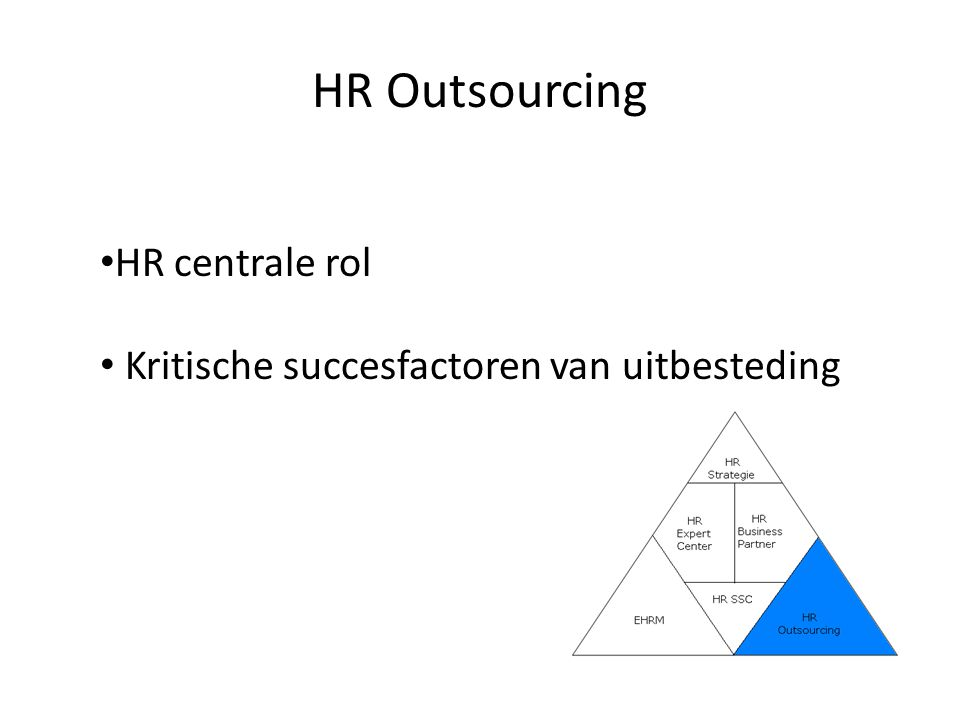 HR Outsourcing HR centrale rol