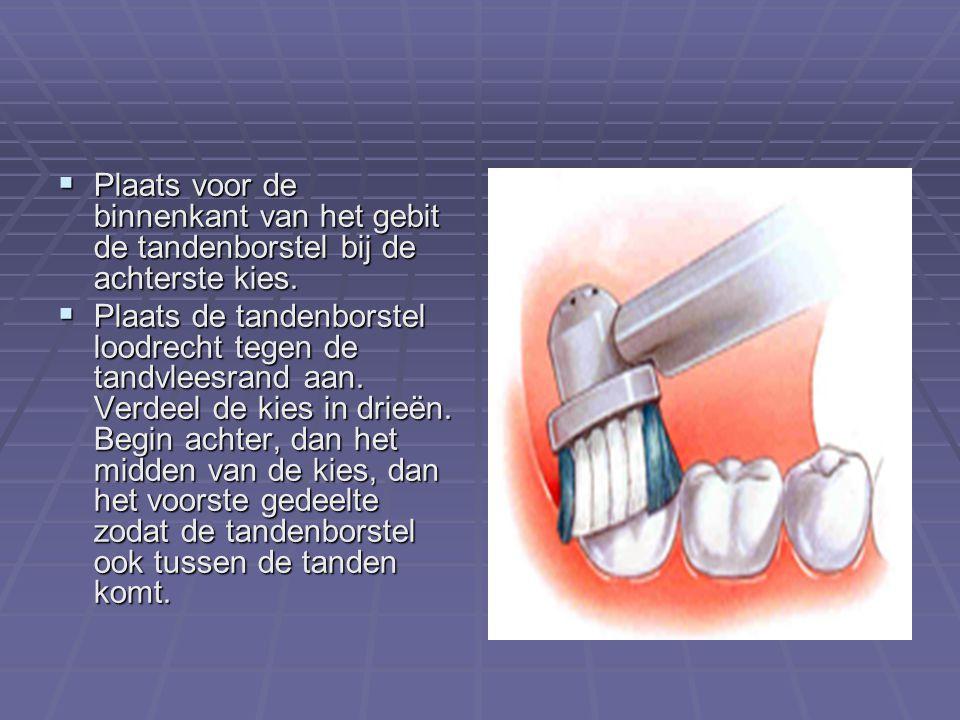 Plaats voor de binnenkant van het gebit de tandenborstel bij de achterste kies.