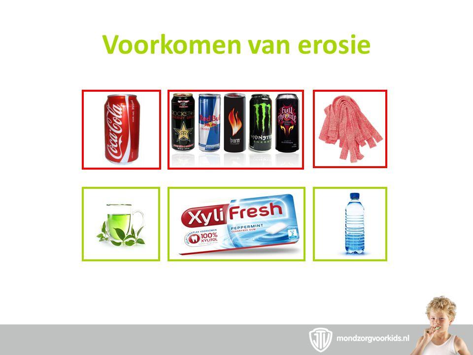 Voorkomen van erosie Kauw op suikervrije kauwgom na het nuttige van zure voedingsmiddelen voor speeksel.