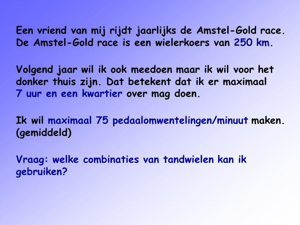 Een vriend van mij rijdt jaarlijks de Amstel-Gold race