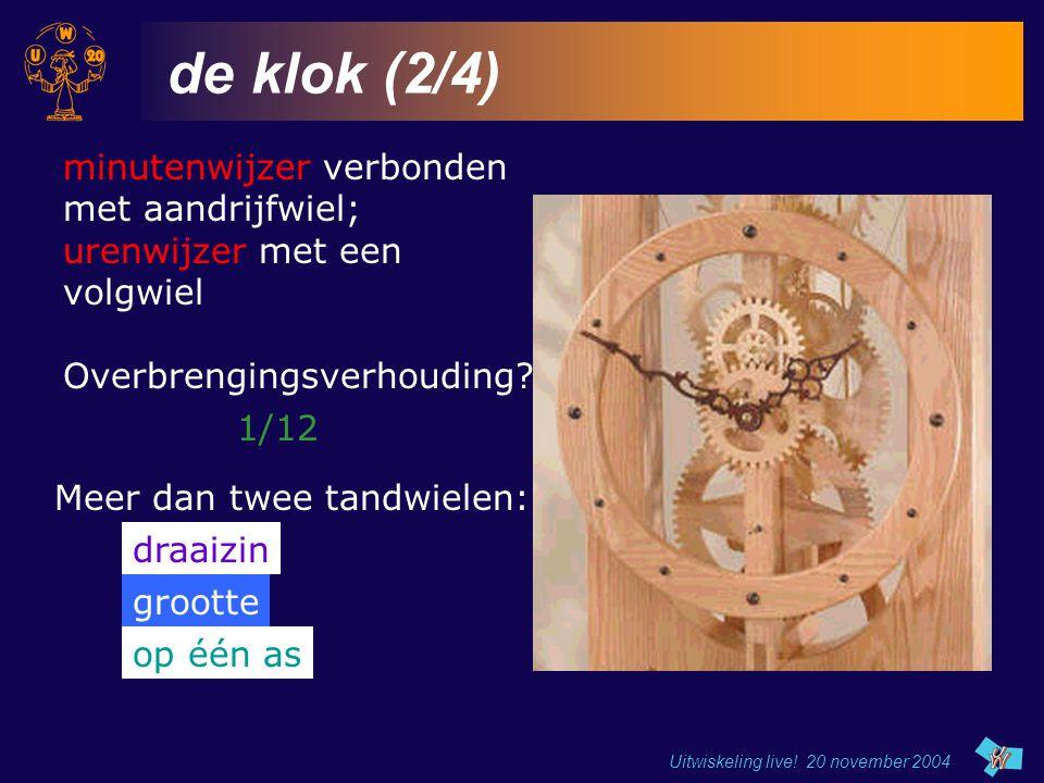 de klok (2/4) minutenwijzer verbonden met aandrijfwiel;