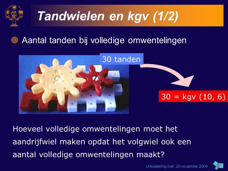 Tandwielen en kgv (1/2) Aantal tanden bij volledige omwentelingen