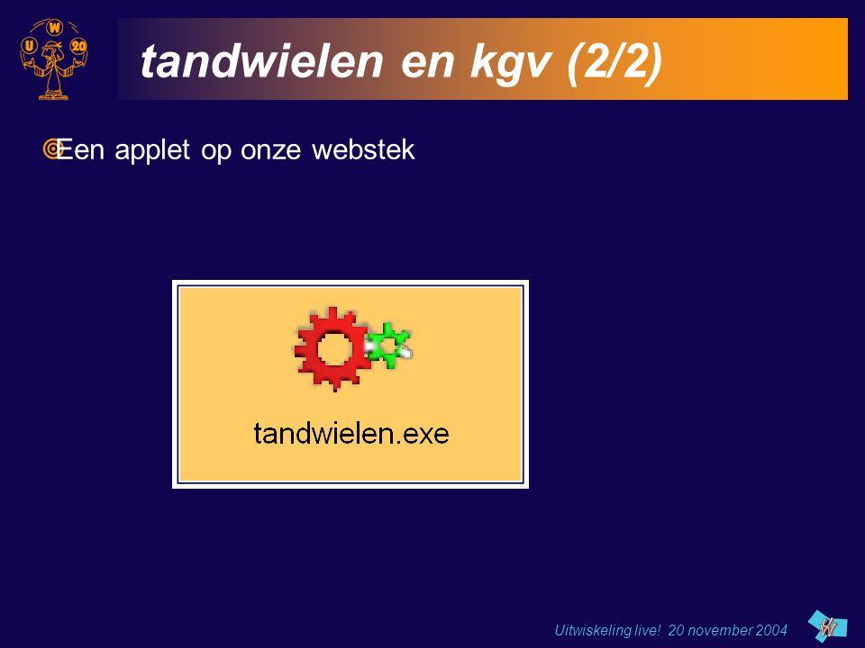 tandwielen en kgv (2/2) Een applet op onze webstek